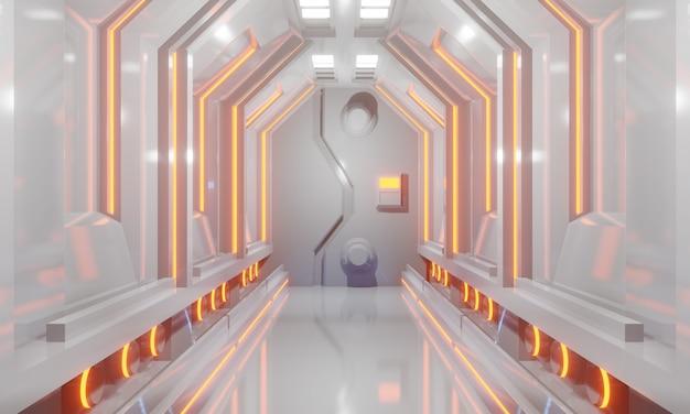 Futuristischer korridor des raumschiffes der sciencefiction 3d mit weißem boden und orange licht. abbildung 3d.