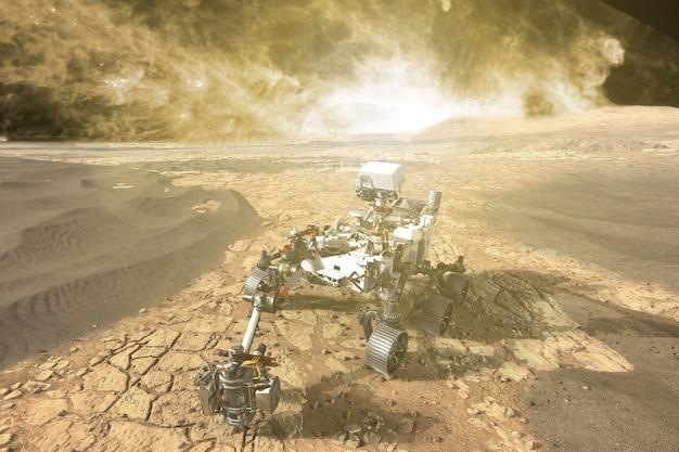 Futuristischer mars-rover, der riesige rote planeten erkundet. elemente dieses von der nasa na bereitgestellten bildes