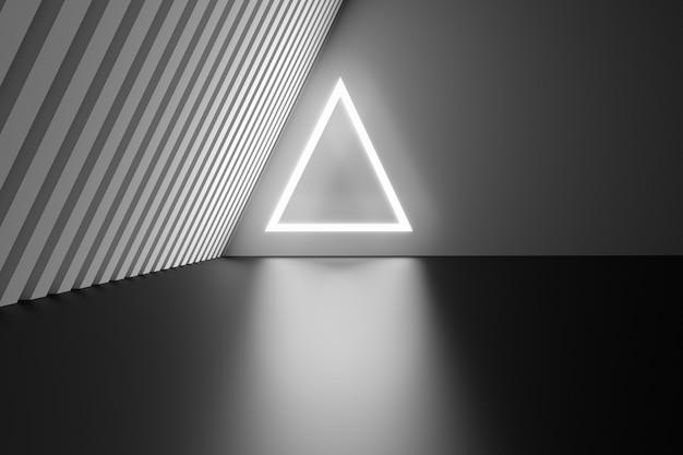 Futuristischer raum mit weiß leuchtendem dreieck