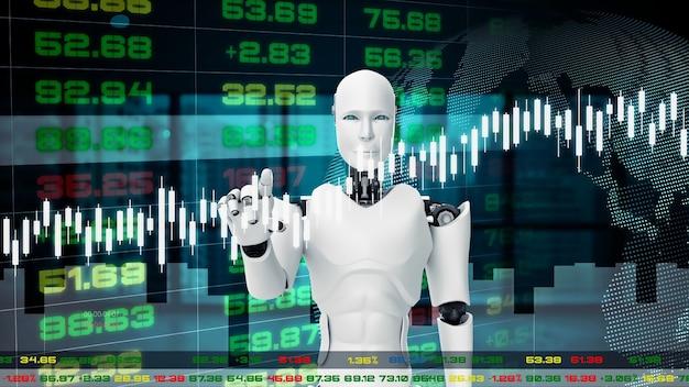 Futuristischer roboter, cgi für künstliche intelligenz für den börsenhandel