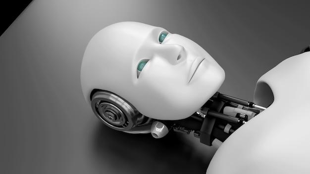 Futuristischer roboter, der auf dem bett liegt, künstliche intelligenz cgi auf schwarzem hintergrund