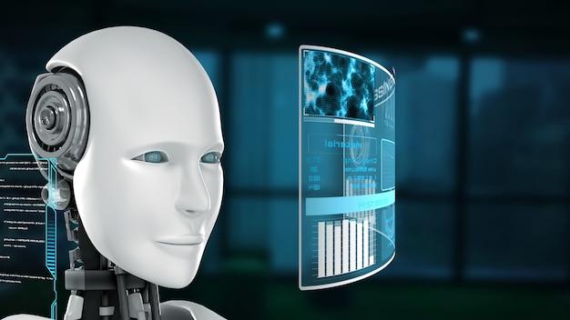 Futuristischer roboter, künstliche intelligenz cgi big data analyse und programmierung