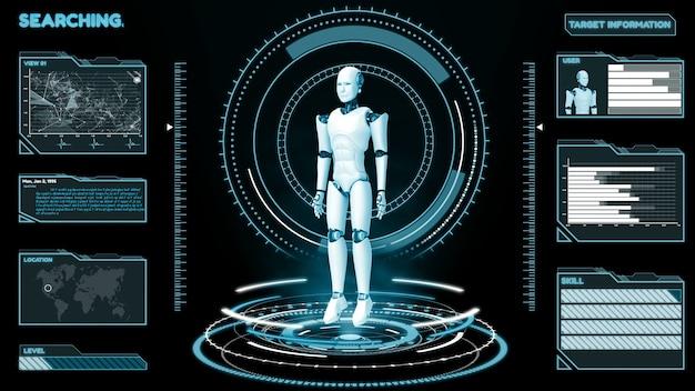 Futuristischer roboter, künstliche intelligenz cgi big data analytics und programmierung