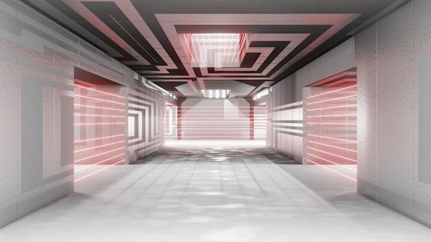Futuristischer sci-fi-innenraum mit laseralarmschutz