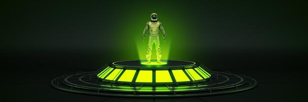 Futuristischer sci-fi-moderner leerer großer saal dark alien garage sci-fi-astronauten-raumanzug