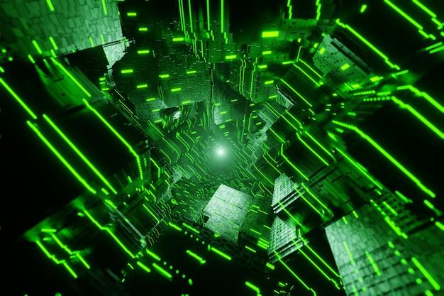 Futuristischer sci-fi-stadtstrom datenkommunikation fliegt in digitales technologisches tunnelanimations-3d-rendering