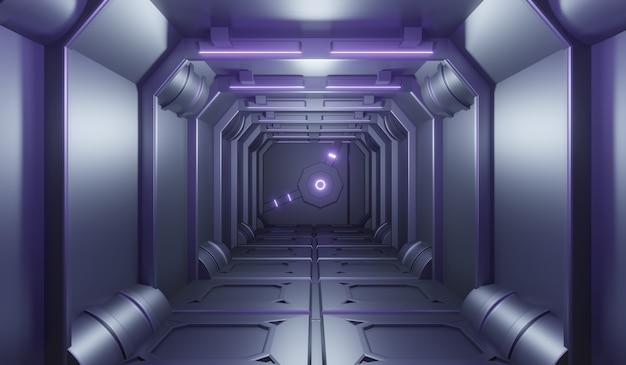 Futuristischer sci-fi-technonogietunnel mit lila neonhintergrund.