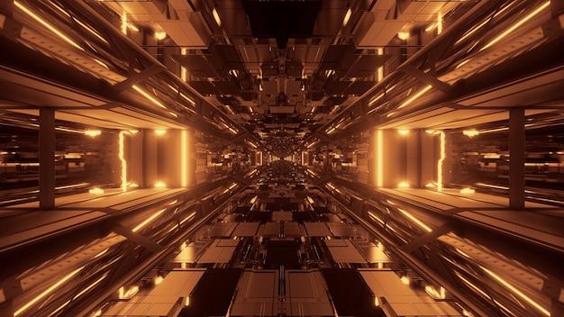 Futuristischer sci-fi-weltraumtunnel-durchgang mit leuchtenden lichtern