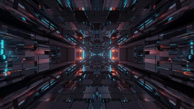 Futuristischer science-fiction-weltraumtunnel-durchgang mit leuchtenden lichtern