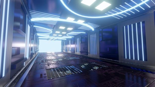 Futuristischer scifi-korridor blauer hintergrund tapete heller hintergrundbildschirm