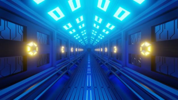 Futuristischer sechseckiger tunnel in einem raumfahrzeug mit einem weltraumspaziergang. weiches gelb-blaues licht, lampen an den wänden des korridors.