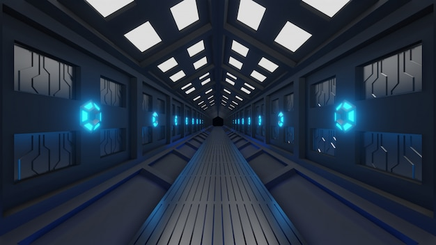 Futuristischer sechseckiger tunnel in raumfahrzeugen mit weltraumspaziergang weiches blaulicht, lampen an den wänden des korridors