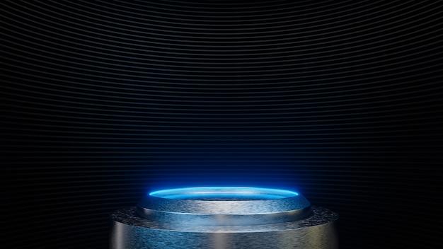Futuristischer sockel für die produktpräsentation im sci-fi-stil mit schwarzen streifenwänden.