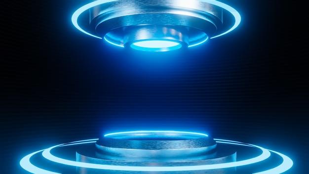 Futuristischer sockel für produktpräsentation auf sci-fi-stil des schwarzen streifenwandhintergrunds. , 3d-modell und illustration.