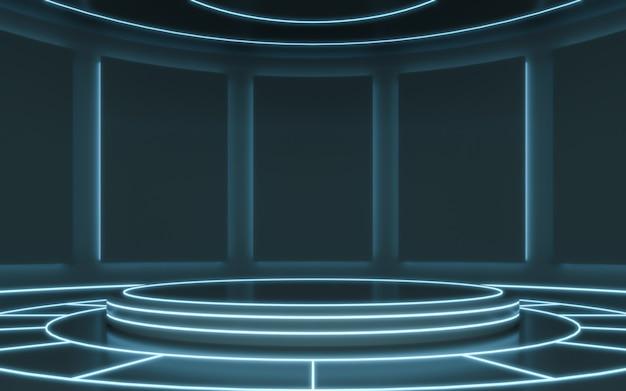 Futuristischer sockel zur anzeige. leeres podium für das produkt. 3d-rendering