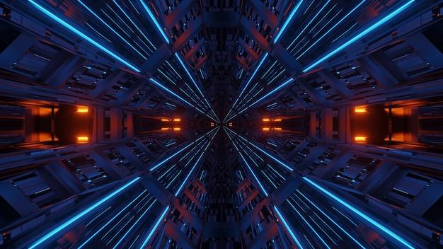 Futuristischer symmetrie- und reflexionsabstrakter hintergrund mit orange und blauen neonlichtern