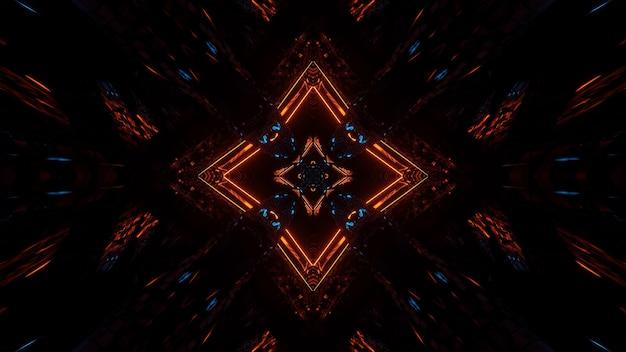 Futuristischer symmetrischer symmetrie- und reflexionshintergrund mit orange und blauen neonlichtern