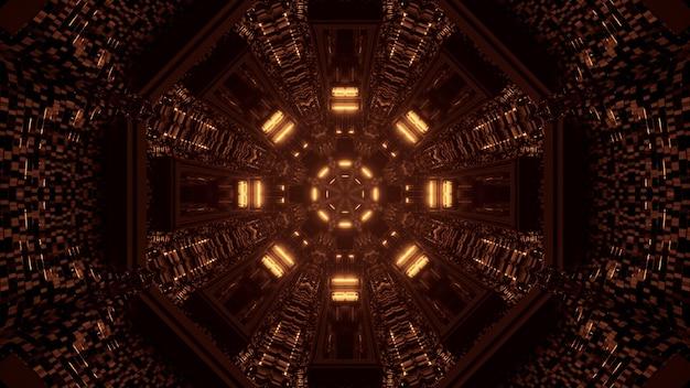 Futuristischer techno-hintergrund des 3d-renderings mit lichtern, die coole formen schaffen