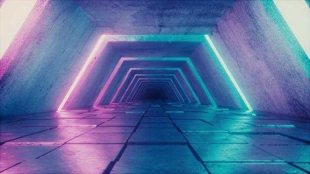 Futuristischer tunnel mit fluoreszierenden ultravioletten lichtern