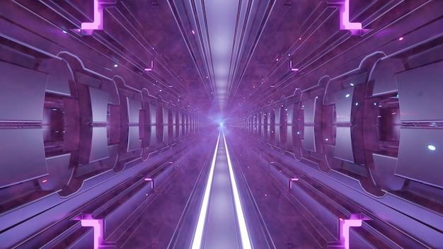 Futuristischer tunnel mit rauch 4k uhd 3d-darstellung