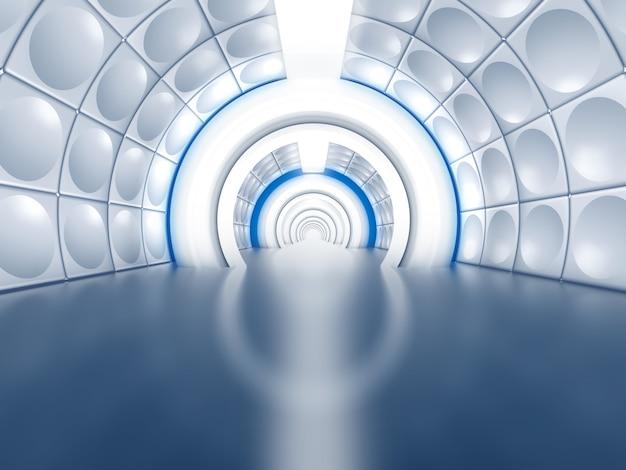 Futuristischer tunnel wie raumschiffkorridor