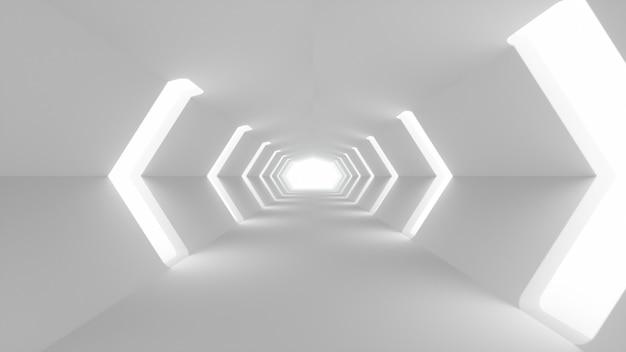 Futuristischer weißer sci-fi-tunnelinnenraum
