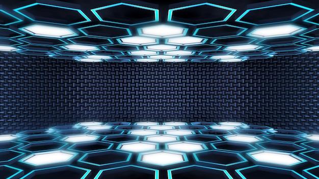 Futuristischer zukünftiger hintergrund der hexagonal-blaulichtzusammenfassungstechnologie