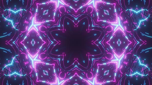Futuristisches abstraktes helles kaleidoskop mit leuchtenden linien