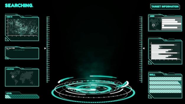 Futuristisches benutzeroberflächen-dashboard für die big-data-analyse im informationsdiagramm