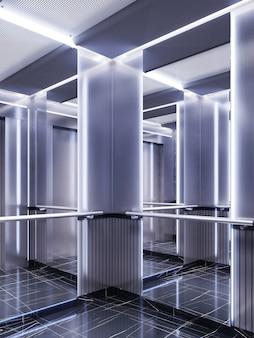 Futuristisches design einer aufzugskabine mit spiegeln mit neonbeleuchtung und metallpaneelen. modernes aufzugsdesign. reflexion ins unendliche. 3d-rendering
