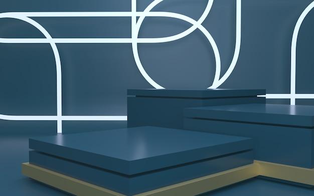 Futuristisches dunkelblaues leeres podium für produktpräsentation mit abstraktem hintergrund