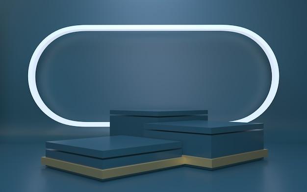 Futuristisches dunkelblaues leeres podium für produktpräsentation