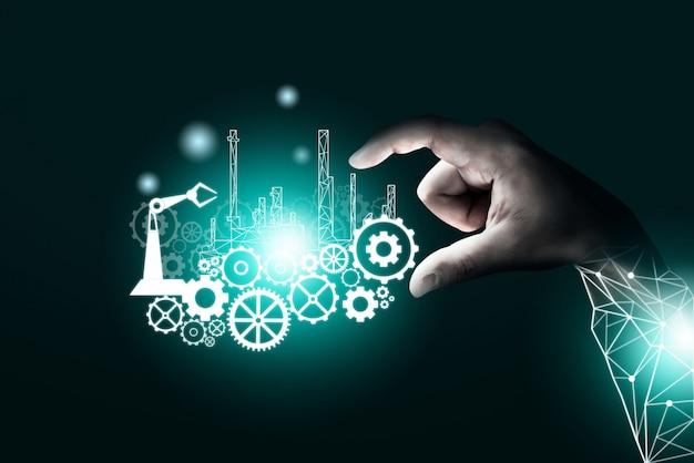 Futuristisches industrie 4.0 engineering-konzept.