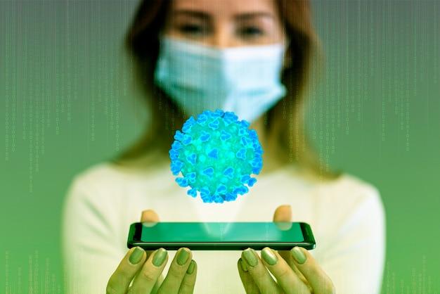 Futuristisches infektionskonzept und frau mit maske