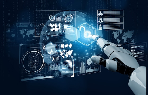 Futuristisches konzept der künstlichen intelligenz des roboters