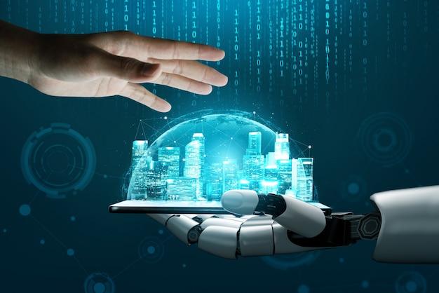 Futuristisches konzept der künstlichen intelligenz des roboters.