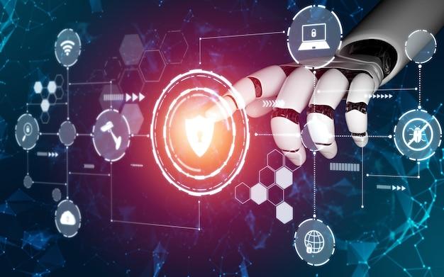 Futuristisches konzept der künstlichen intelligenz von robotern.