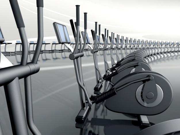Futuristisches modernes fitnessstudio mit elliptischem cross-trainer
