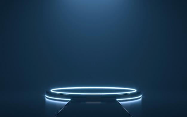 Futuristisches podest zur anzeige. leeres podium für produkt. 3d-rendering