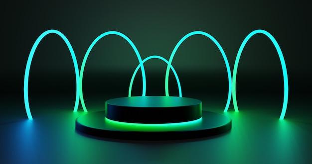 Futuristisches podium mit grünen neonkreisen