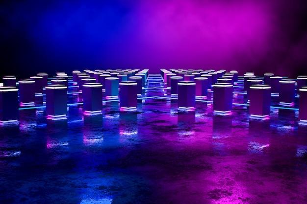 Futuristisches rechteck-podium