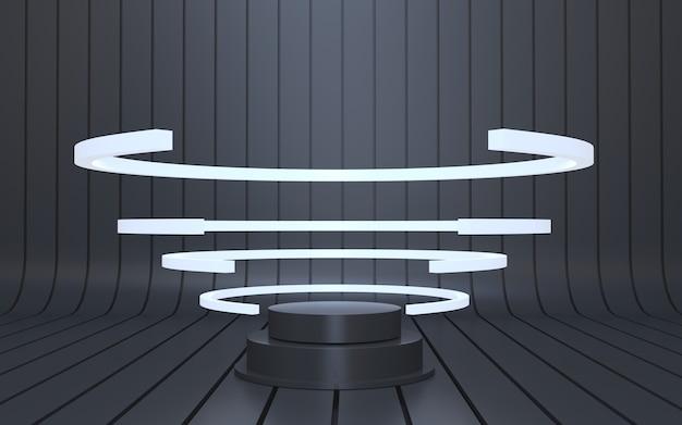 Futuristisches schwarzes podium für produktpräsentation