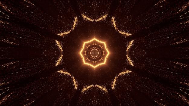 Futuristisches science-fiction-achteck-mandala-design mit braunen und goldenen lichtern