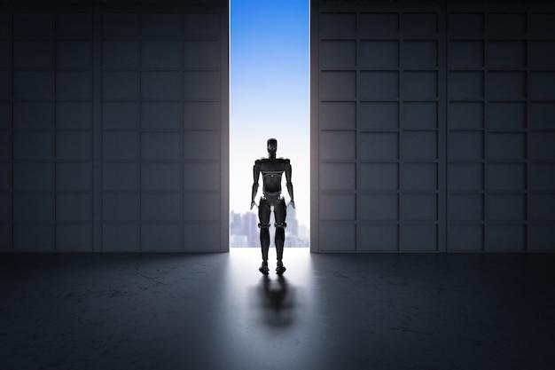 Futuristisches technologiekonzept mit rückwärtigem roboter, der zwischen der wand steht