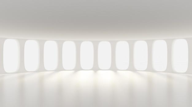 Futuristisches weißes leeres mattes interieur. 3d-rendering.