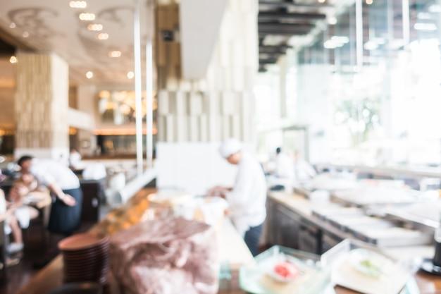 Fuzzy-restaurant mit koch arbeits