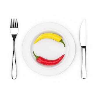 Gabel und messer in der nähe von teller mit rotem und gelbem chili pepper, ansicht von oben auf weißem hintergrund. 3d-rendering