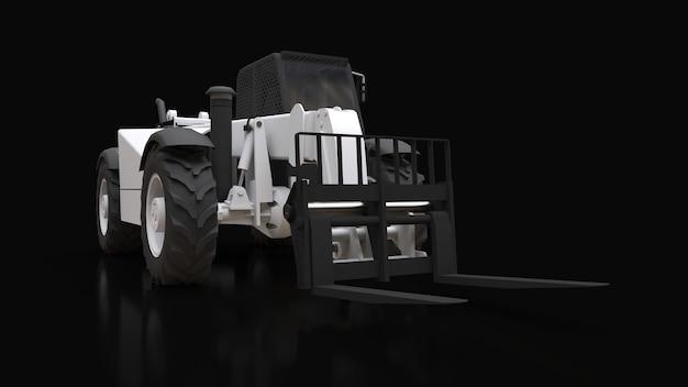 Gabelstapler auf schwarzem hintergrund. 3d-rendering.