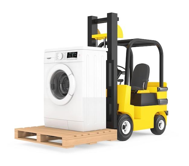 Gabelstapler bewegt moderne waschmaschine auf weißem hintergrund. 3d-rendering