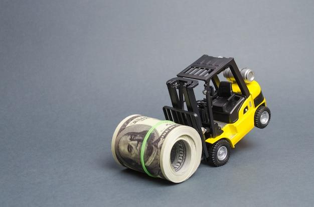 Gabelstapler kann ein bündel dollar nicht aufbringen. teure kredite, hohe steuerbelastung